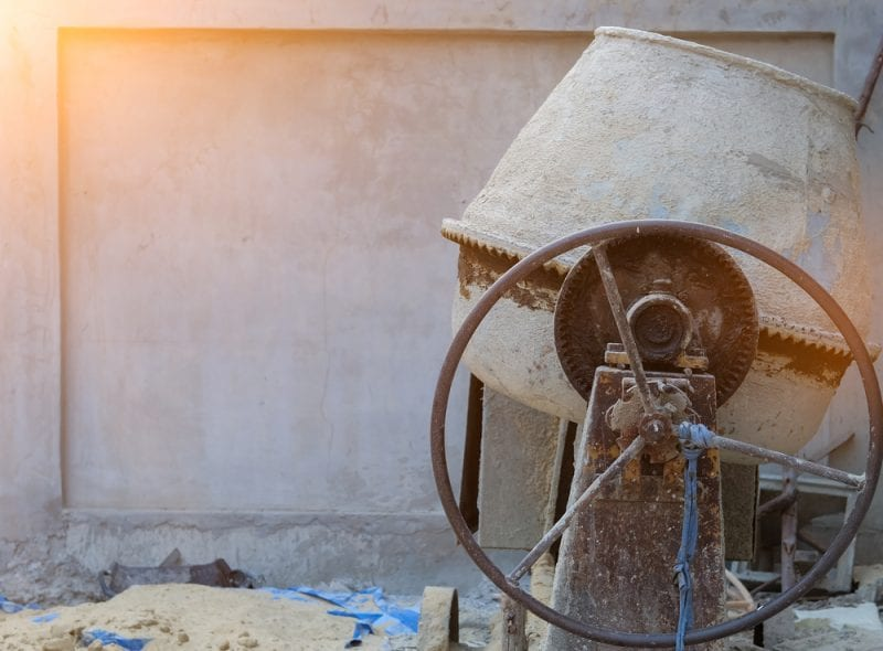 Concrete-mixer at construction site