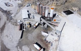 Aerial shot shows concrete batching plant